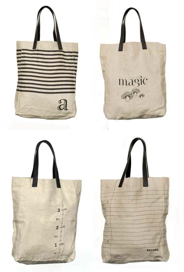 Cute bags...could try to recreate these patterns w/ paint??? Notebook paper love