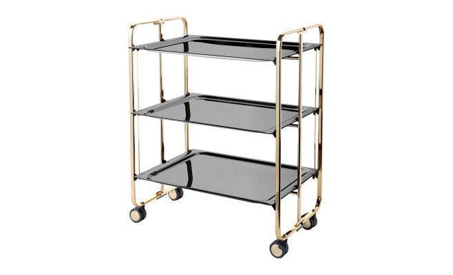 Table pliante 3 plateaux  4 roues  42,5 x 66 x 82 cm  Doré et noir