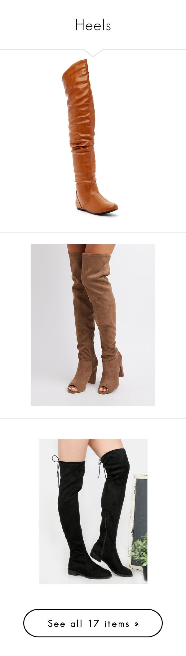 """Heels"" by devonna-bell ❤ liked on Polyvore featuring shoes, boots, over-the-knee boots, tan, fake leather boots, rounded toe boots, over-knee boots, synthetic leather boots, tan boots and taupe"