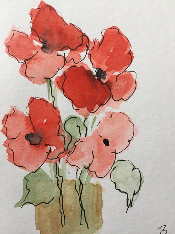 ORIGINAL AQUARELL Aquarellpostkarte Mohnblumen Blumen Bild Kunst Art Watercolor Poppy Flowers Flowers Handmade