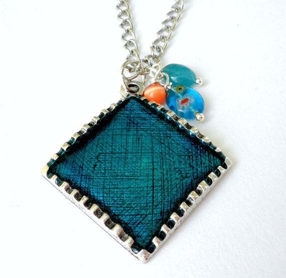 Blue resin pendant  Pendant resin with beads  by dadahandmade, €12.00