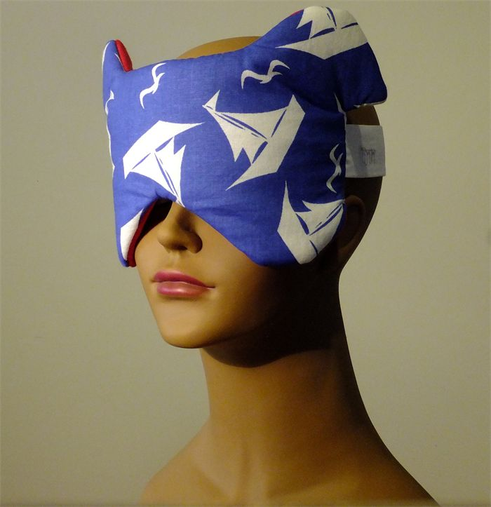 Puppy Dog Ears Sleep Eye Mask. Sailboats on blue with red linen. In Flight Mask.