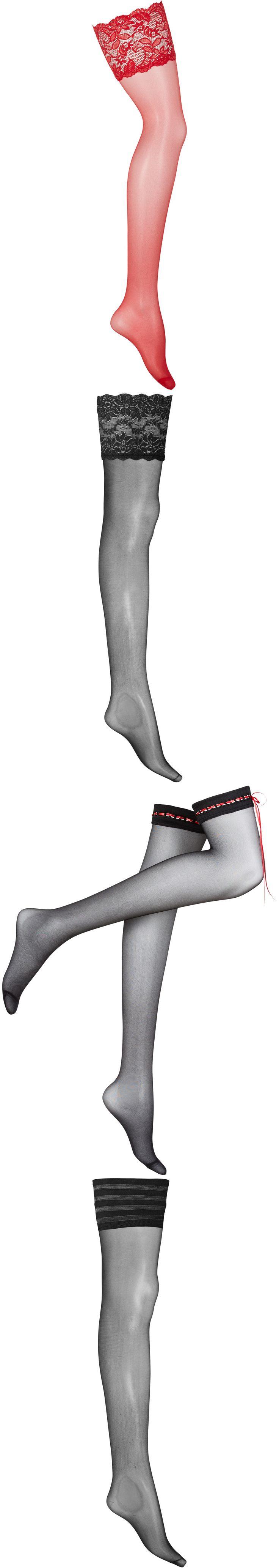 Halterlose Strümpfe in rot: Satin Sheer, mit opulenter Spitze, eingearbeitete Silikonstreifen für einen optimalen Halt. - Strumpfwaren für Damen von bonprix
