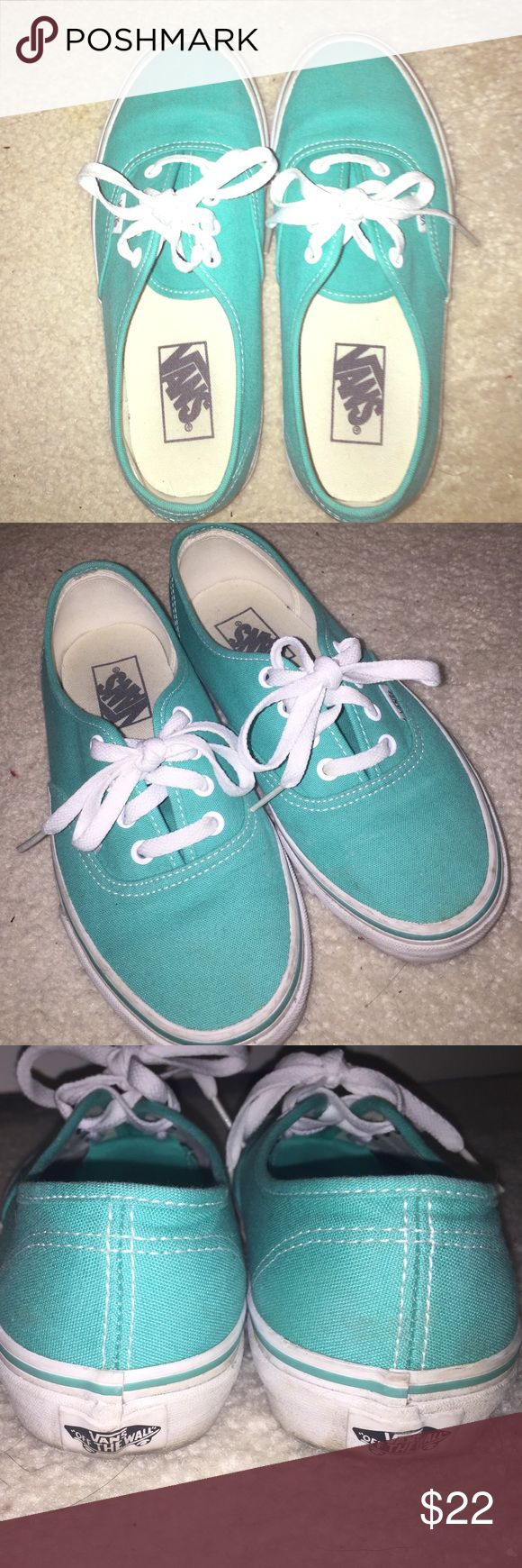 Mint Green Vans Mint green vans! Worn only few times, no damages :) slight scuffs on sole. Size 5 in men's & size 6.5 in women's. Vans Shoes Sneakers