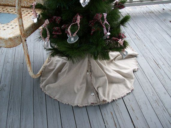 READY to SHIP Farmhouse Christmas Tree Skirt by misshettie on Etsy, $55.00 #raggedy #Christmasdecorations #Christmastreeskirt