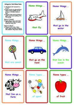 FREE Categories Card Game: Name Things That ...  Repinned by www.preschoolspeechie.com