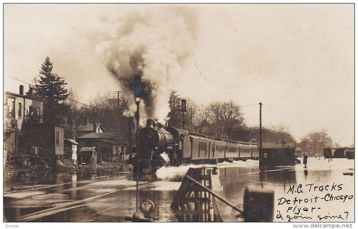 RP: 1908 RPPC Flooded Mi. Central Tracks in Battle Creek, Michigan, Detroit-Chicago Flyer Train - Delcampe.com