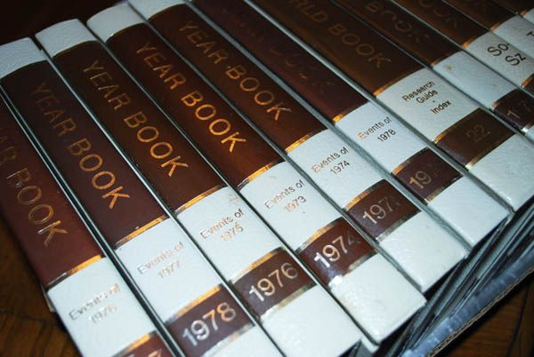 Before the internet . . . World Book Encyclopedias bought from a door to door salesman.