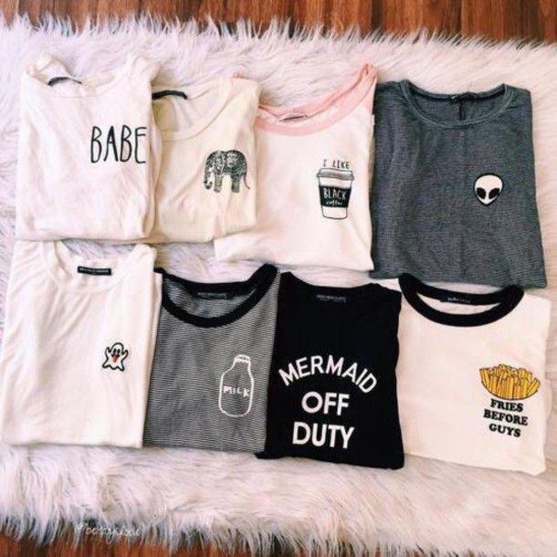Wheretoget - T-shirts with fries, ellephant, bottle, alien, drink