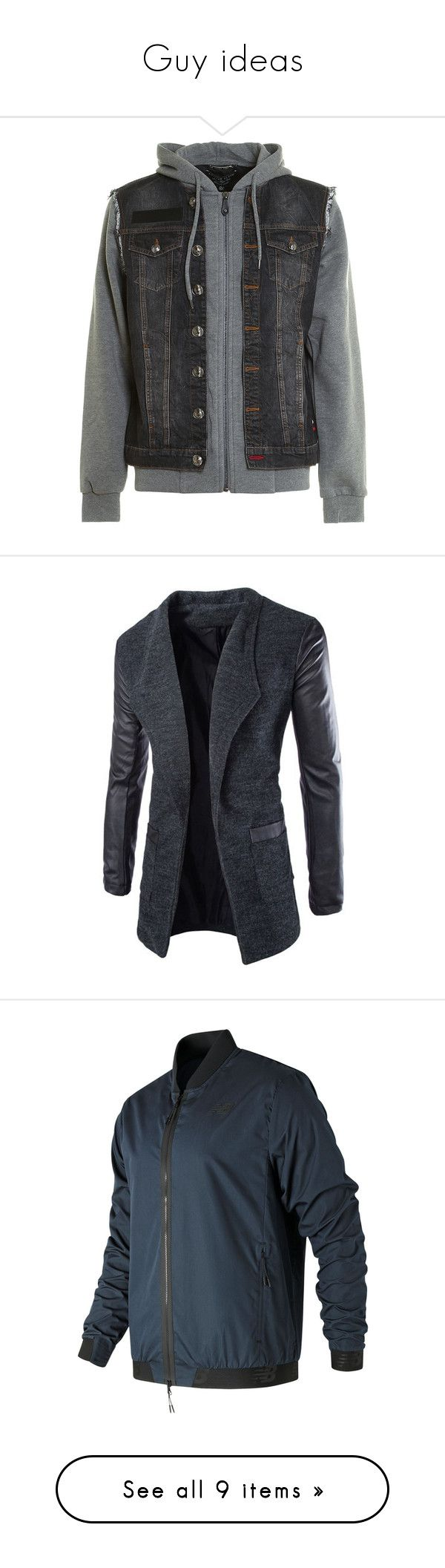 """""""Guy ideas"""" by theclocker ❤ liked on Polyvore featuring men's fashion, men's clothing, men's outerwear, men's jackets, grey, mens leather sleeve denim jacket, mens grey denim jacket, mens denim jacket, men's embroidered bomber jacket and mens zip jacket"""