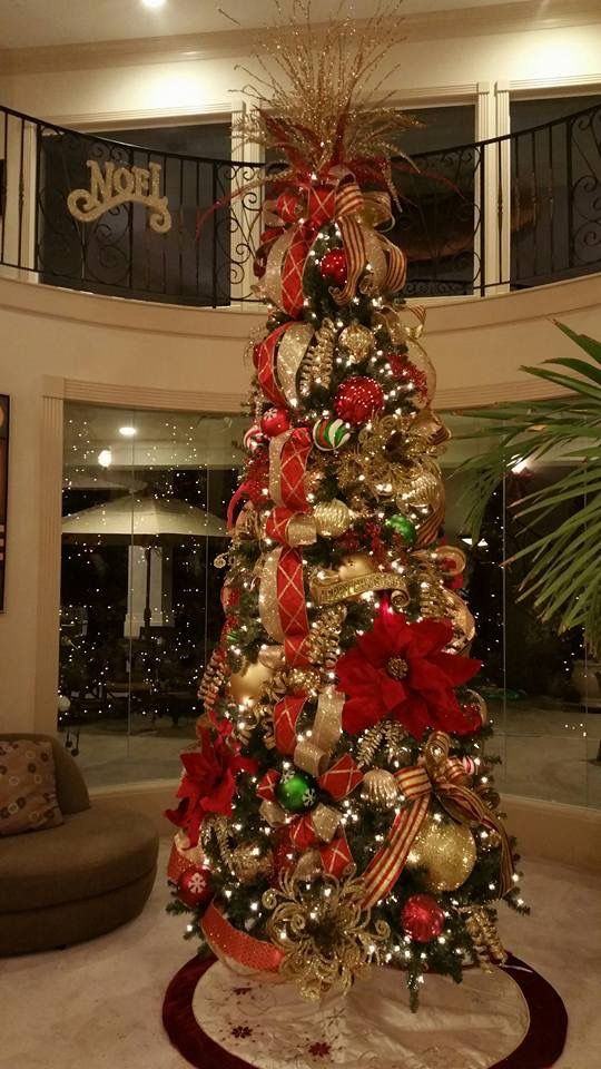 Red Gold Slim Christmas Tree Designed By Arcadia Floral Home Decor