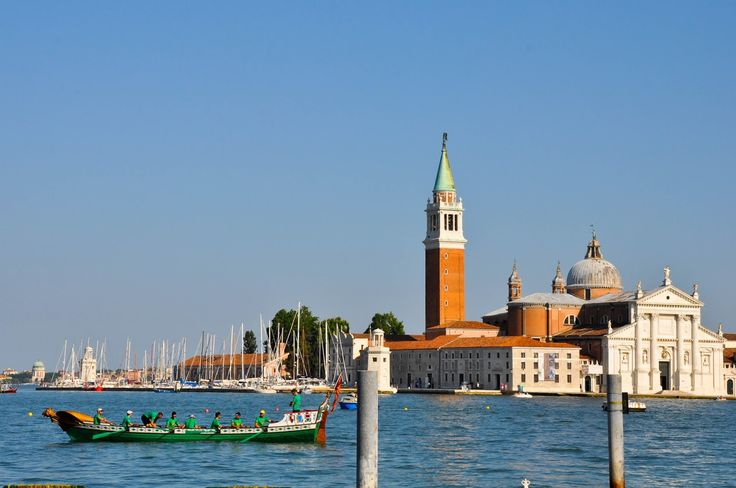 Venice's boat in front of the island of San Giorgio Maggiore, Regatta of the Ancient Maritime Republics, Venice, Italy