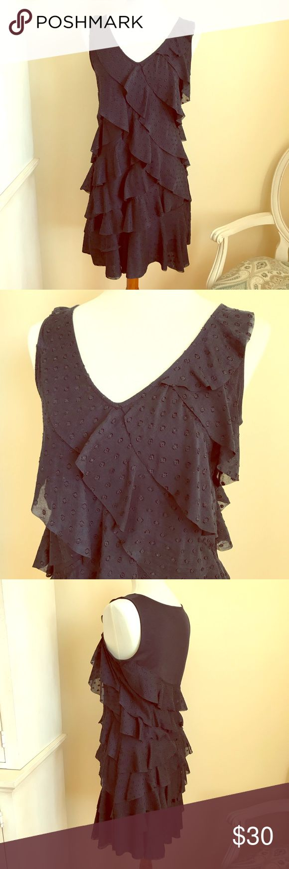 Anne Taylor LOFT Navy Ruffled Dress Anne Taylor LOFT Tiered Ruffle sleeveless navy blue dress. EUC. Only used once. Perfect dress for the Spring Season! LOFT Dresses