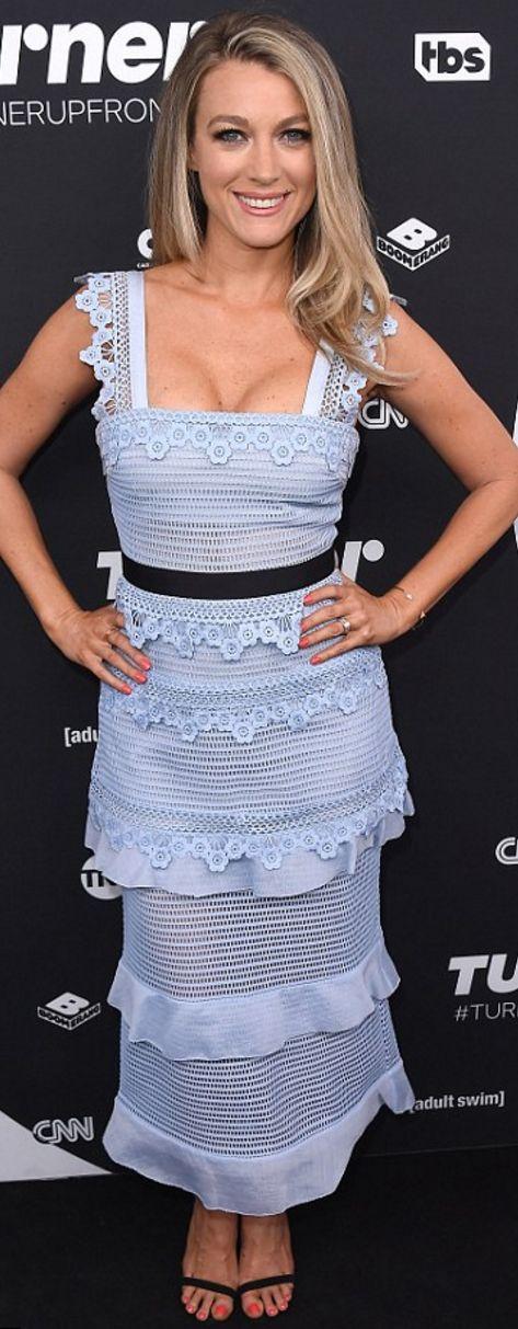 Who made Natalie Zea's blue lace dress?
