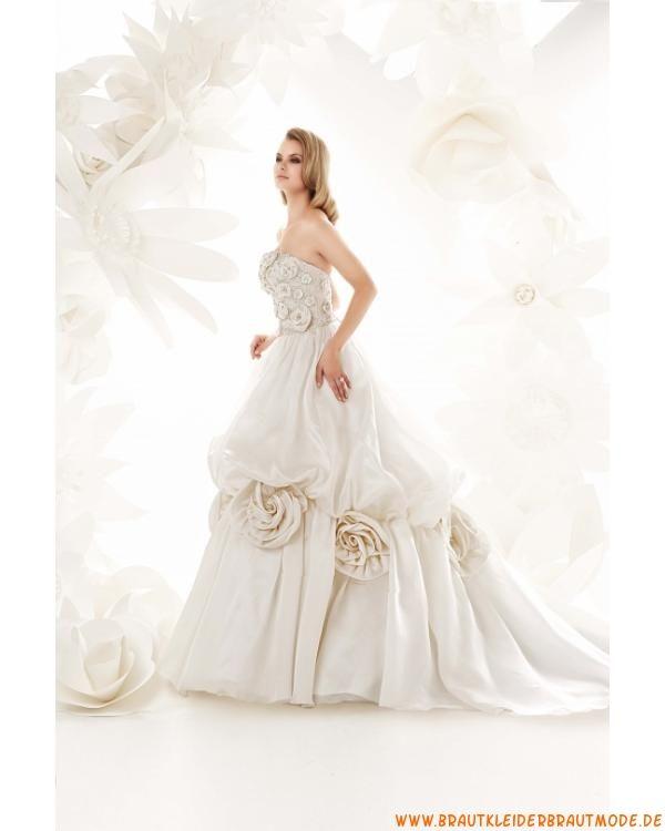 Romantische Brautmode frankfurt kaufen online aus Satin mit Schleppe