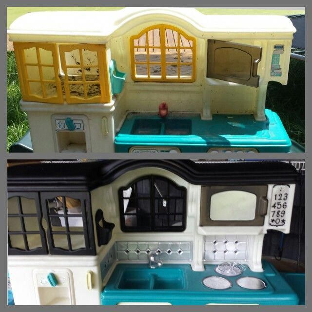 Plastic Toy Kitchen Makeover Before And After Kidstoykitchen Diy Play Kitchen Kitchen Makeover Toy Kitchen