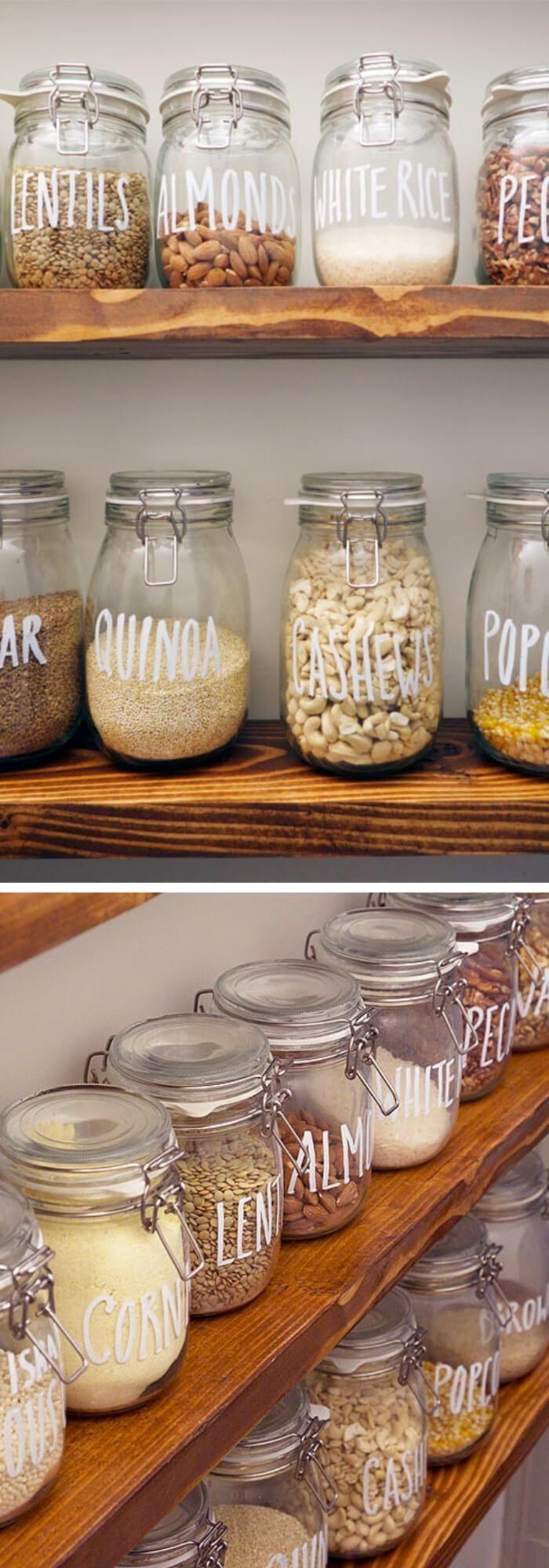 Storage Dry Goods With Mason Jars Inspiring Farmhouse Kitchen Design Decor Ideas Farmhouse Kitchen Design Kitchen Design Decor Kitchen Jars