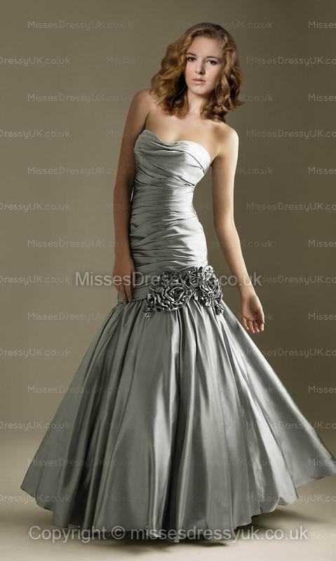 Trumpet/Mermaid Sweetheart Taffeta Floor-length Silver Flower(s) Prom Dress