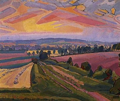 """Icknield Way,"" 1912, Spencer Gore (1878 - 1914)  (The Icknield Way is an ancient trackway in southern England that goes from Norfolk to Wiltshire. It follows the chalk escarpment that includes the Berkshire Downs and Chiltern Hills. The earliest mentions of the Icknield Way are in Anglo-Saxon charters from the year 903 onwards. Wikipedia)"