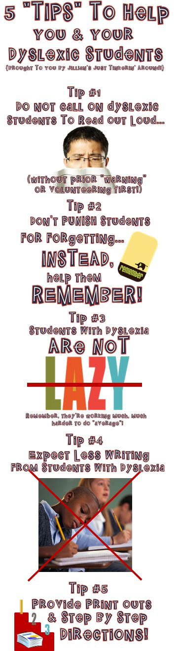 5 Tips To Help You and Your Students with Dyslexia: How I used these tips to help my classroom run smoothly!