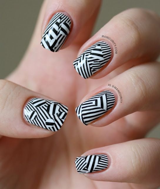 Manicurity   Mind-bending Stripey Patchwork with OMG Nail Polish Strips in Black Stripes