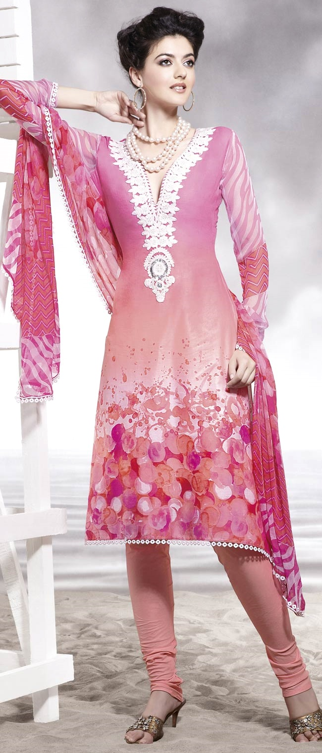 Light Pink Cotton Churidar Kameez with Dupatta    Itemcode: KWY258A    Price: US$ 52.64    Click here to shop: http://www.utsavfashion.com/store/sarees-large.aspx?icode=kwy258a