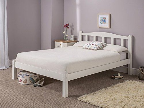 From 145.00 Snuggle Beds Amberley White Wooden Solid Slatted 4ft Small Double Bed Frame