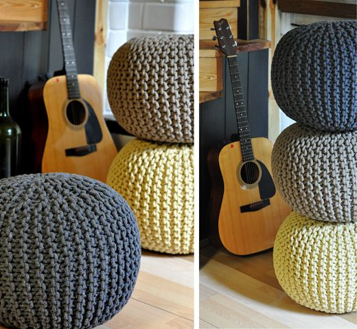 Hand knitted poufs, pods, bean bags, round floor cushions