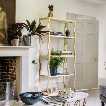 Hana Gold Iron And Marble Bookcase - Cabinets & Shelving - Furniture - Furniture