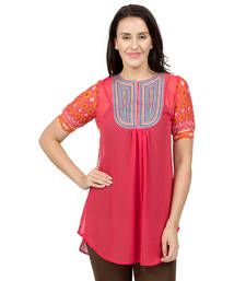 Buy Orange plain Georgette tunics tunic online