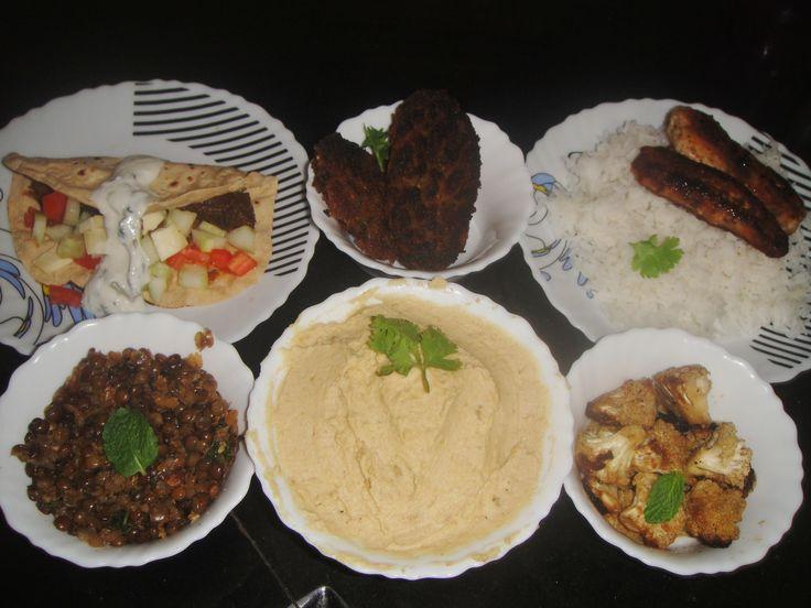 Middle Eastern homemade thali- Salata Adas(garlicky lentil salad