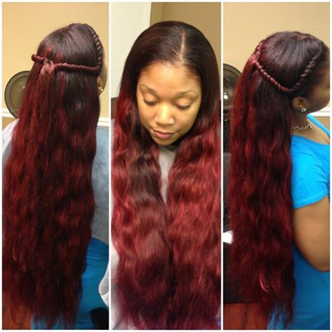 Versatile Sew In Hairstyles, Burgundy Wavy, Hairweave Hairstyles, Hair