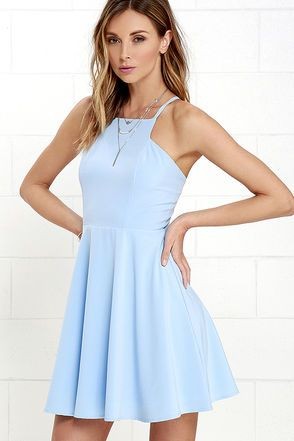 Prepare to sweep all your sweethearts off their feet with the Call to Charms Light Blue Skater Dress! Sleek woven poly shapes an apron neckline and seamed bodice atop a flaring skater skirt. Skinny straps meet with a racerback for a chic finishing touch. Hidden back zipper/hook clasp.