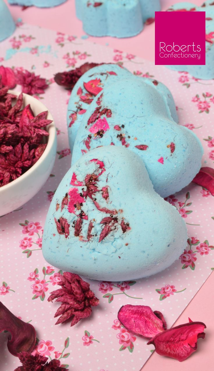 Make a splash with Bath Bombs!! You'll need •1  x  Roberts Confectionery Flowers and Hearts Mould •1 cup Bicarb Soda •½ cup Citric Acid •½ cup Epsom Salts •¾ tb Light Oilve Oil or Coconut Oil •¼ tsp Roberts Confectionery Oil (optional) •Roberts Confectionery Food Colouring •Pot Pourri or Flavoured Tea Bags (optional) •Water in a spray bottle •Disposable Gloves  • Full recipe on Flowers & Heart Mould packaging.