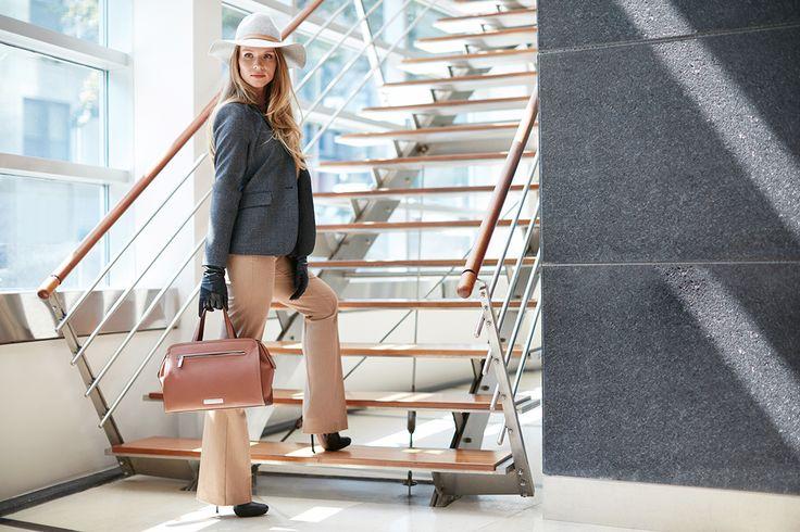 On the go by #rekuccicollection #blazer #miraform #flarepants #travel #hat #fashion #style #onlineshopping