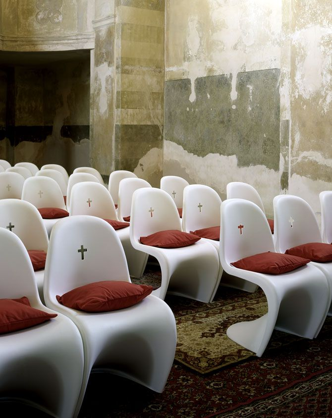 Panton chair in St. Bartholomew's Church by QUBUS in the village of Chodovice, Eastern Bohemia. I absolutely love it!