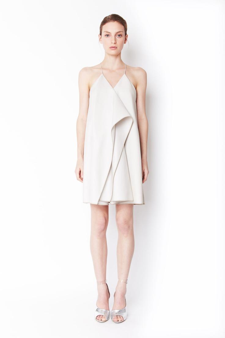 White dress cocktail - Phillip Lim Collapsed Kite Dress With Asymetrical Drape Minimal Summer White Dress Summersummer Cocktail