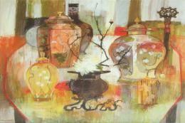 Moira Huntly's Still Life and Ikebana, pastel, 60x66cms