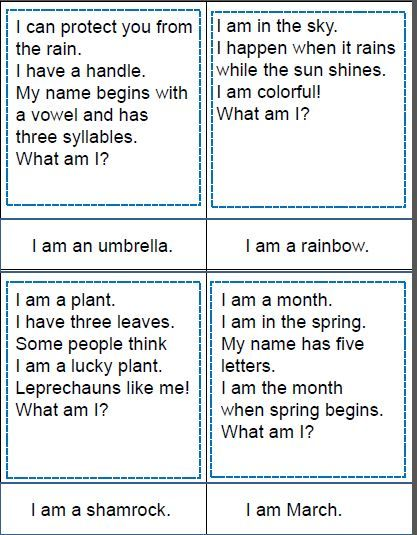 Build vocabulary and inferencing skills with this set of 20 riddle cards for spring. Answer cards are presented both with and without picture support. Set also includes a four-in-a-row game for extra practice with the same words.  $