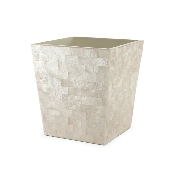 Mother Of Pearl Wastebasket For Bathroom Bath Accessories