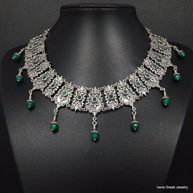 BIG RARE NATURAL GREEN ONYX BYZANTINE STYLE 925 STERLING SILVER GREEK NECKLACE #IreneGreekJewelry #Collar