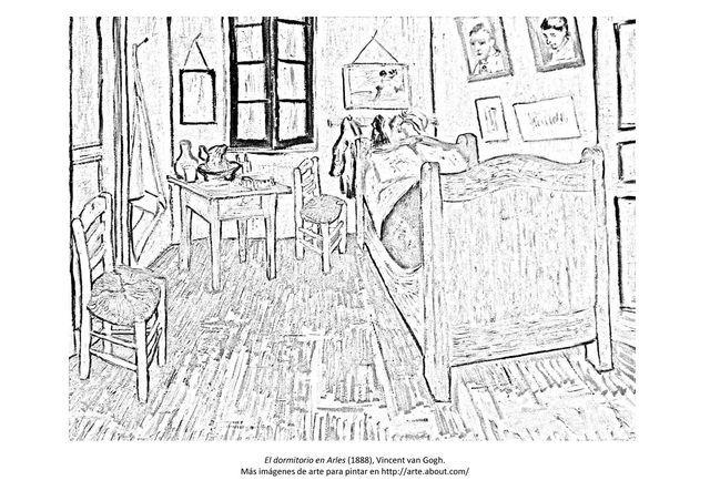 9 dibujos de cuadros famosos para pintar: Para pintar: El dormitorio de Van Gogh