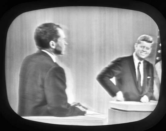 First televised presidential debate 1960.  JFK had me the minute he flashed those pearly whites!