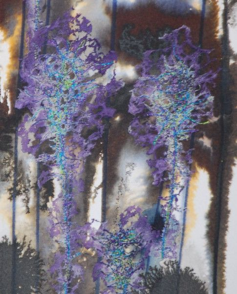 Watercolours including embroidered areas with fused fabrics and textiles. SOLD NICOLA HAIGH