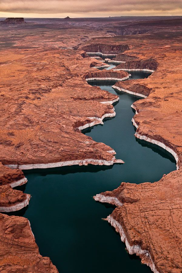 Lake Powell-Aerial-2009-3356 Web - Aerial pictures of Lake Powell taken from small Plane. Lake Powell is a reservoir on the Colorado River, straddling the border between Utah and Arizona (most of it, along with Rainbow Bridge, is in Utah), USA.