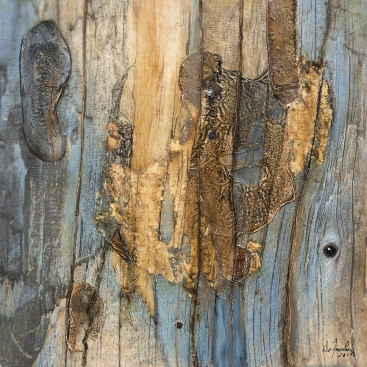 Lacération silencieuse IV.   Techniques mixtes.  Composition numérique, rouille, colle chaude, collagraphie transférés sur bois. Format 12 X 12.