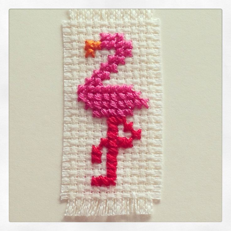 Flamingo cross stitch card
