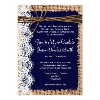 Rustic Country Burlap Print and Lace Twine Bow Wedding Invitations with Navy Blue colors