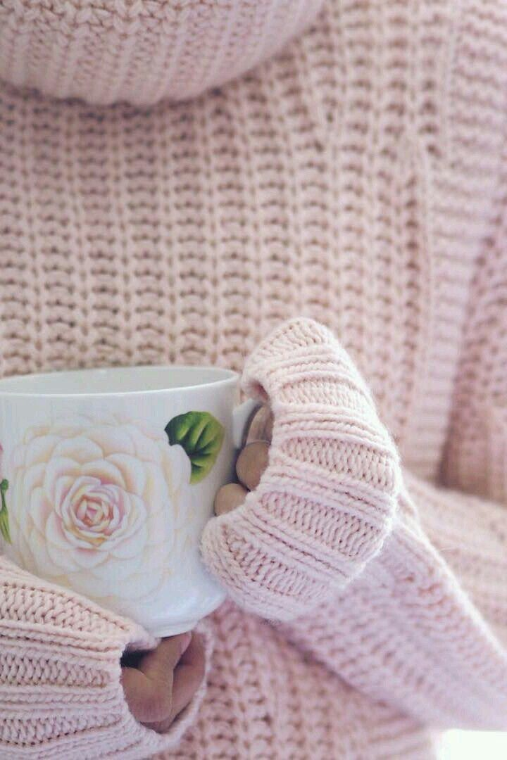 Girly pink jumper and rose tea cup :)