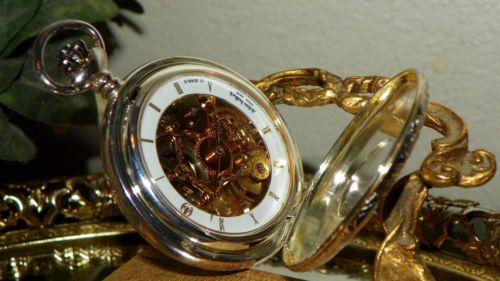 RARE-DOLAN-BULLOCK-COLIBRI-POCKET-WATCH-17-SKELETON-STERLING-SILVER-amp-GOLD-SWISS